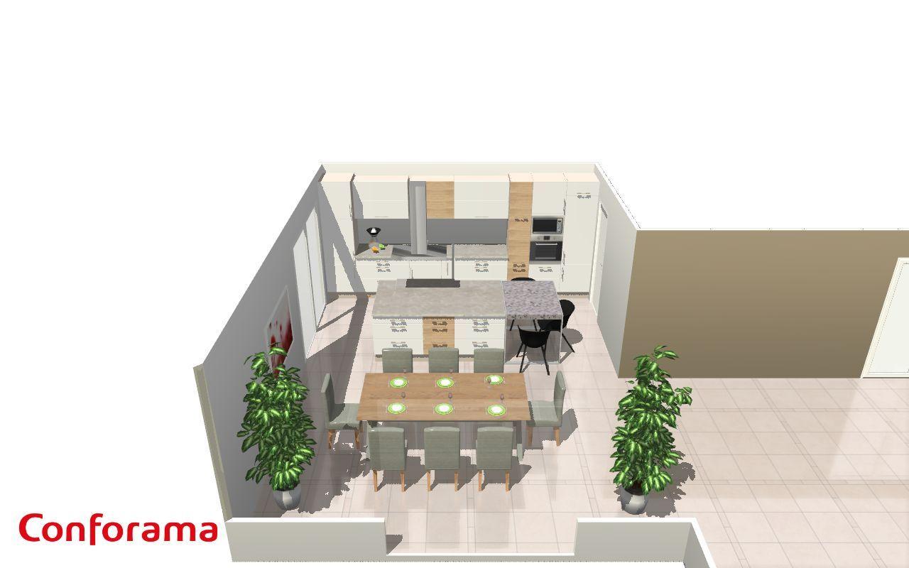 idée cuisine : carrelage -meubles blancs et bois - plan de travail clair