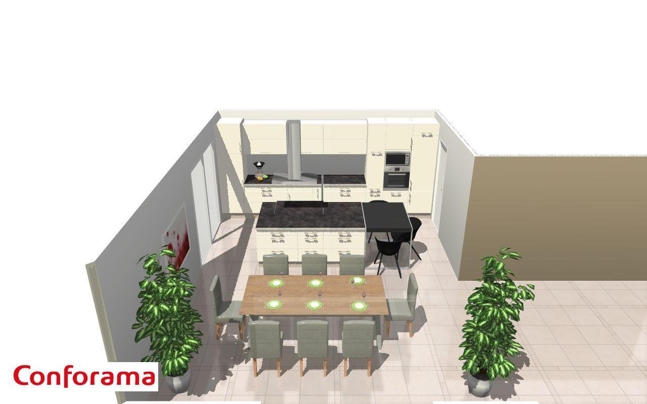 idée cuisine : carrelage -meubles blancs - plan de travail sombre