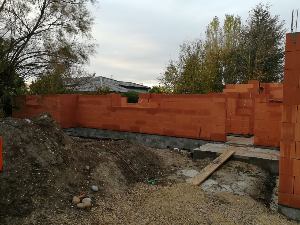 élévation des murs, mur nord