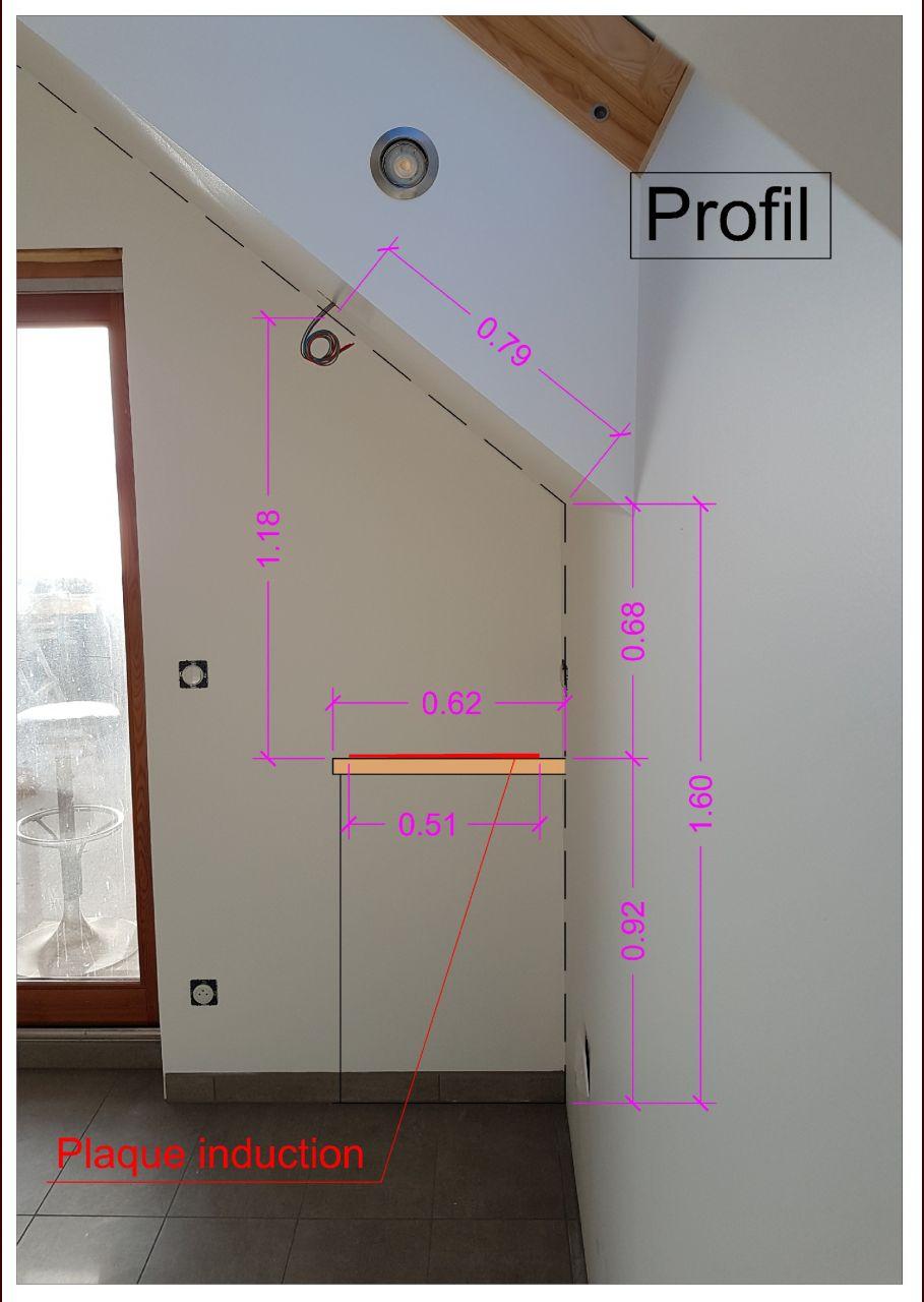 Vue de profil emplacement hotte