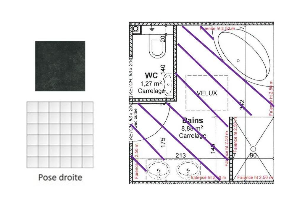 Plan de pose carrelage salle de bain