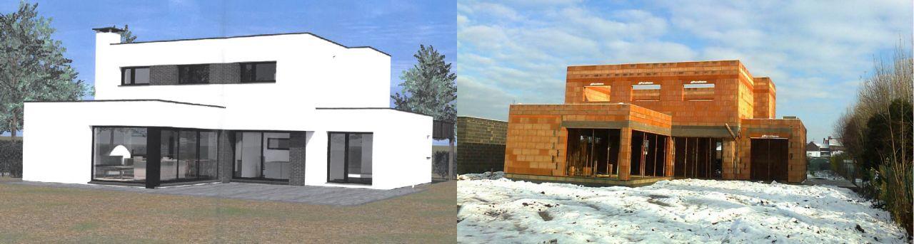 vue arrière : comparaison du projet et du chantier