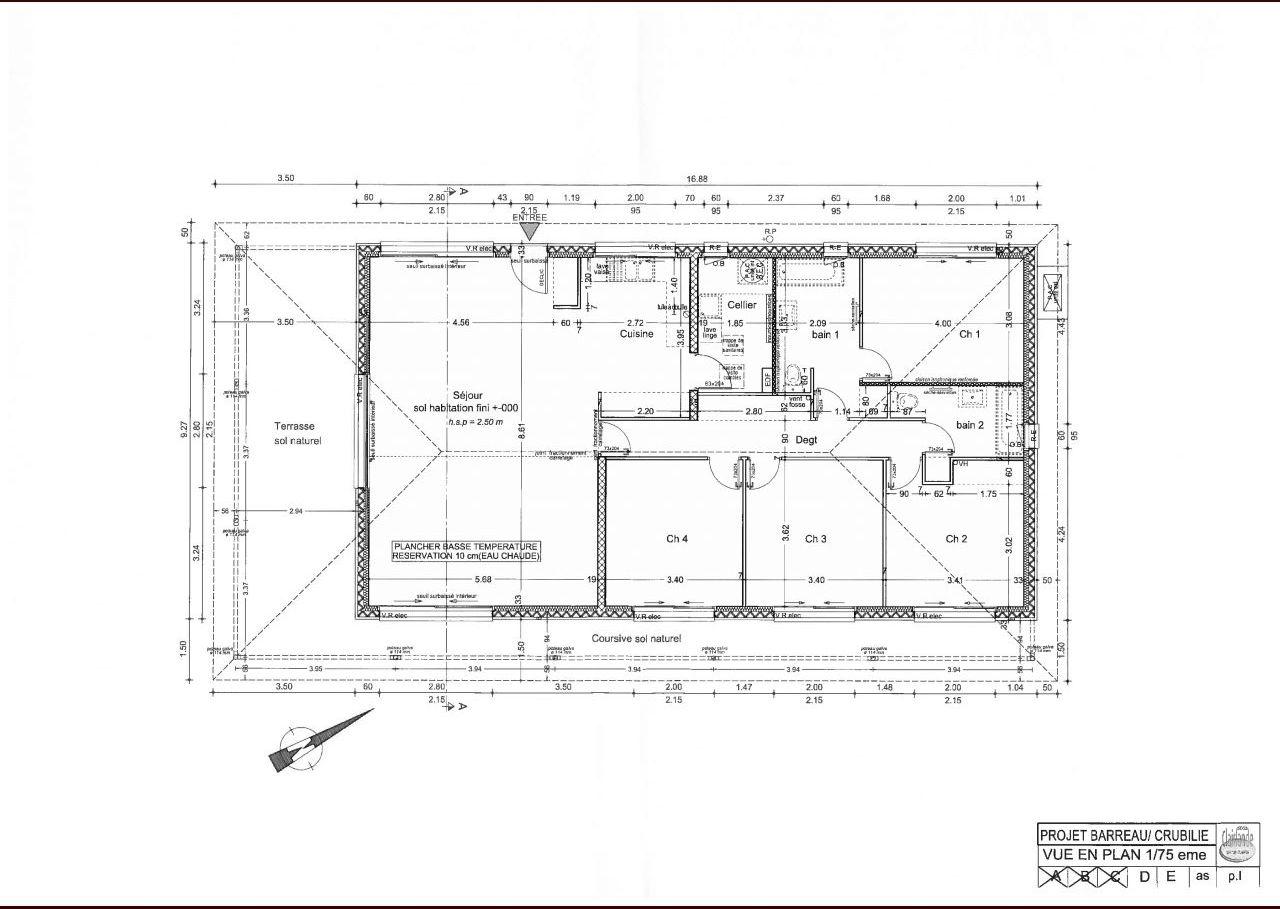 le plan de la maison : nous avons modifié les sdb et la taille des chambres et c'est tout comme on ne pouvait pas modifier l'emplacement des fenêtres ça limite les possibilités