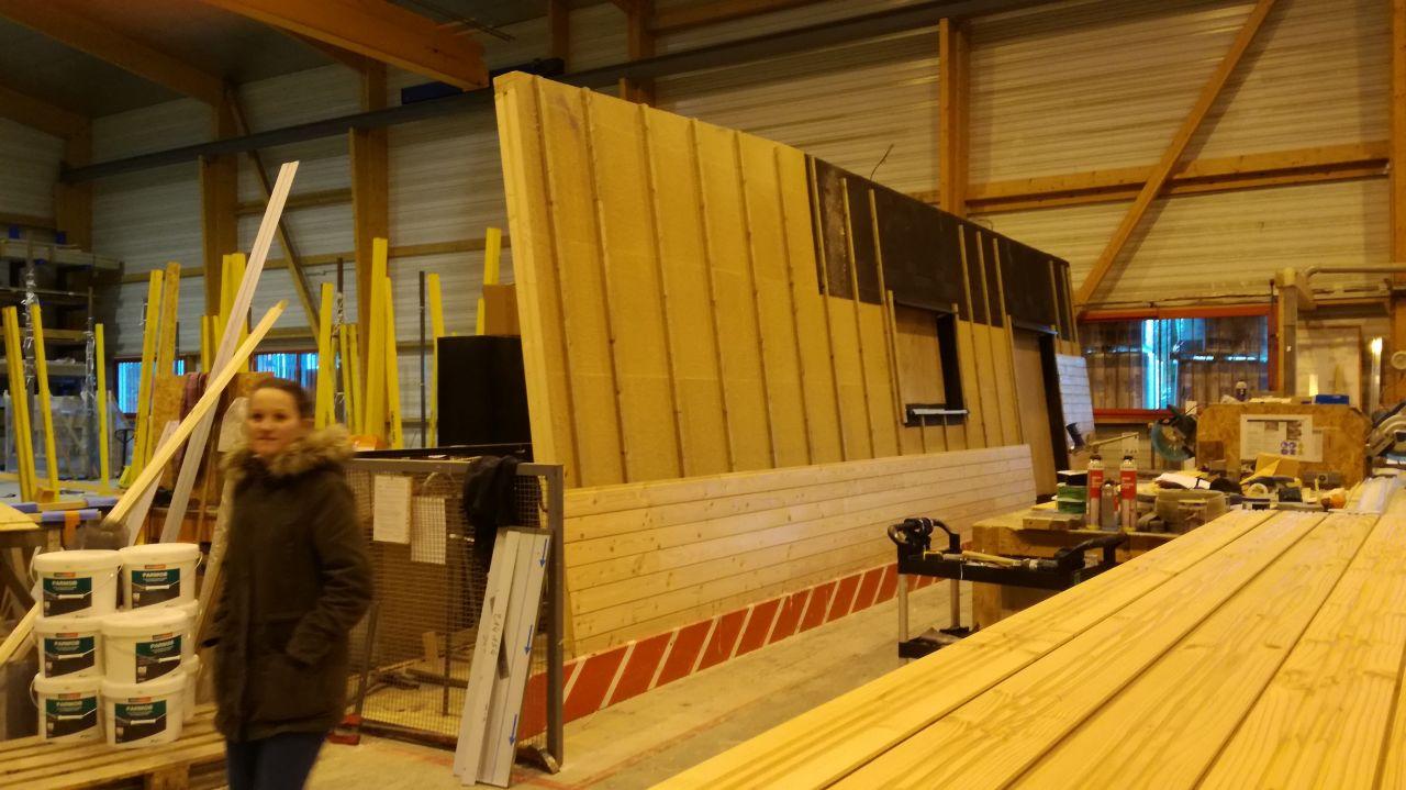 Visite des ateliers IC Bois - pose du bardage, mur façade Ouest