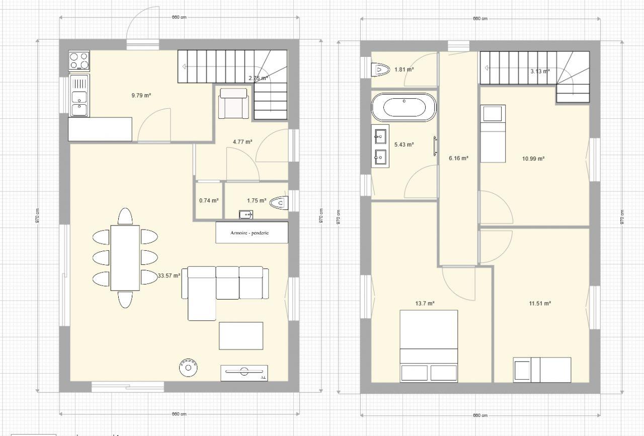 Première version du plan de la maison