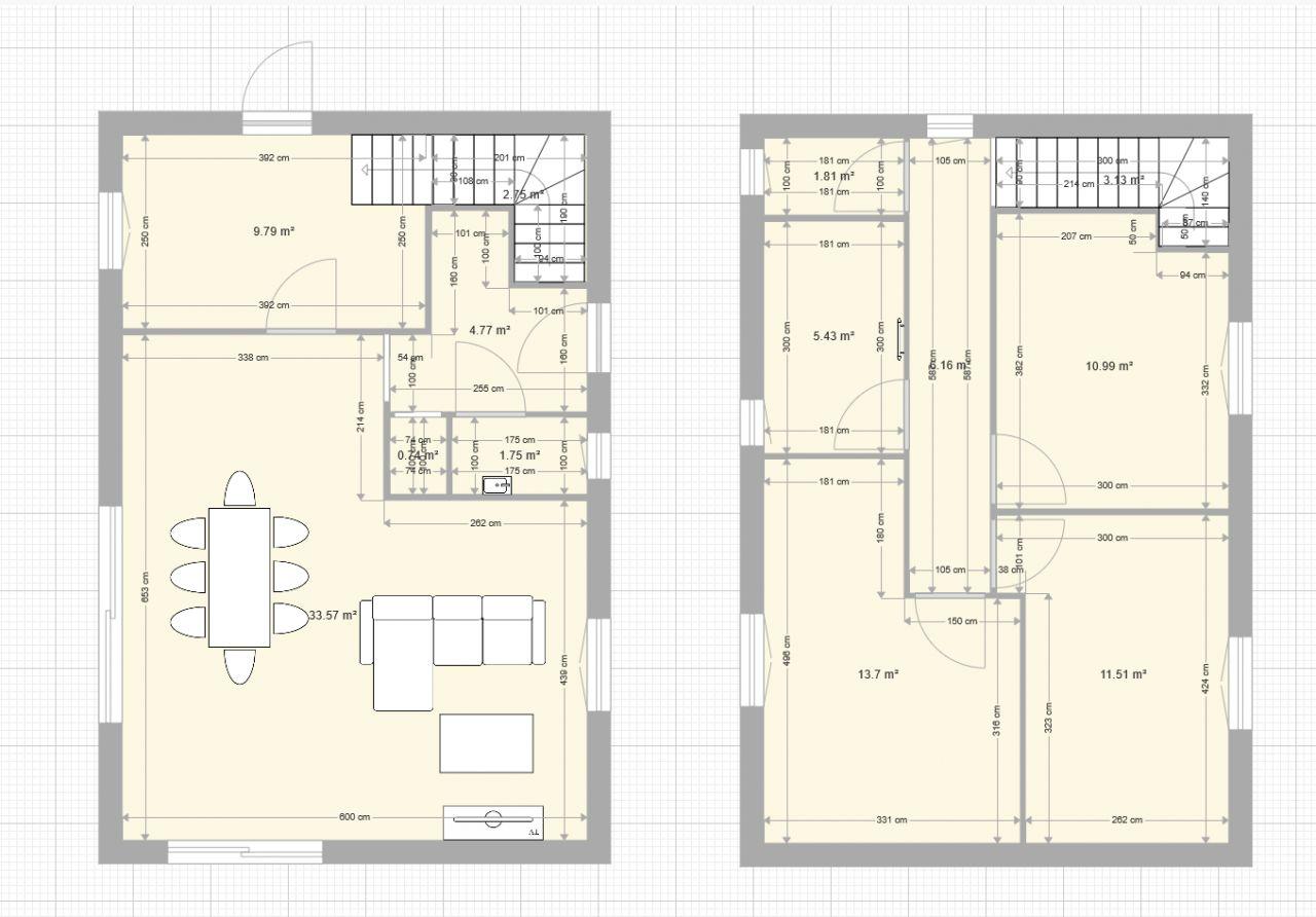 Première version du plan de la maison avec cotes