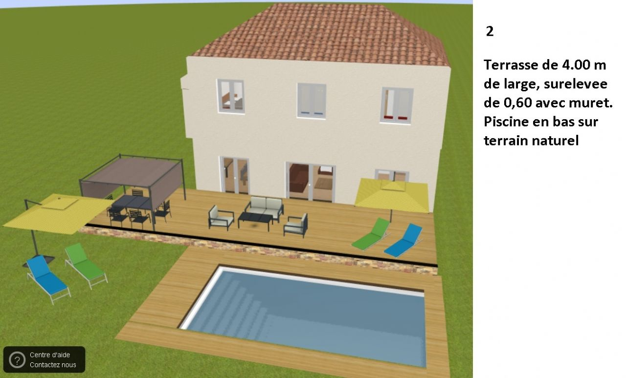 Idee 2: terrasse sureleve avec muret et piscine en bas sur terrain naturel