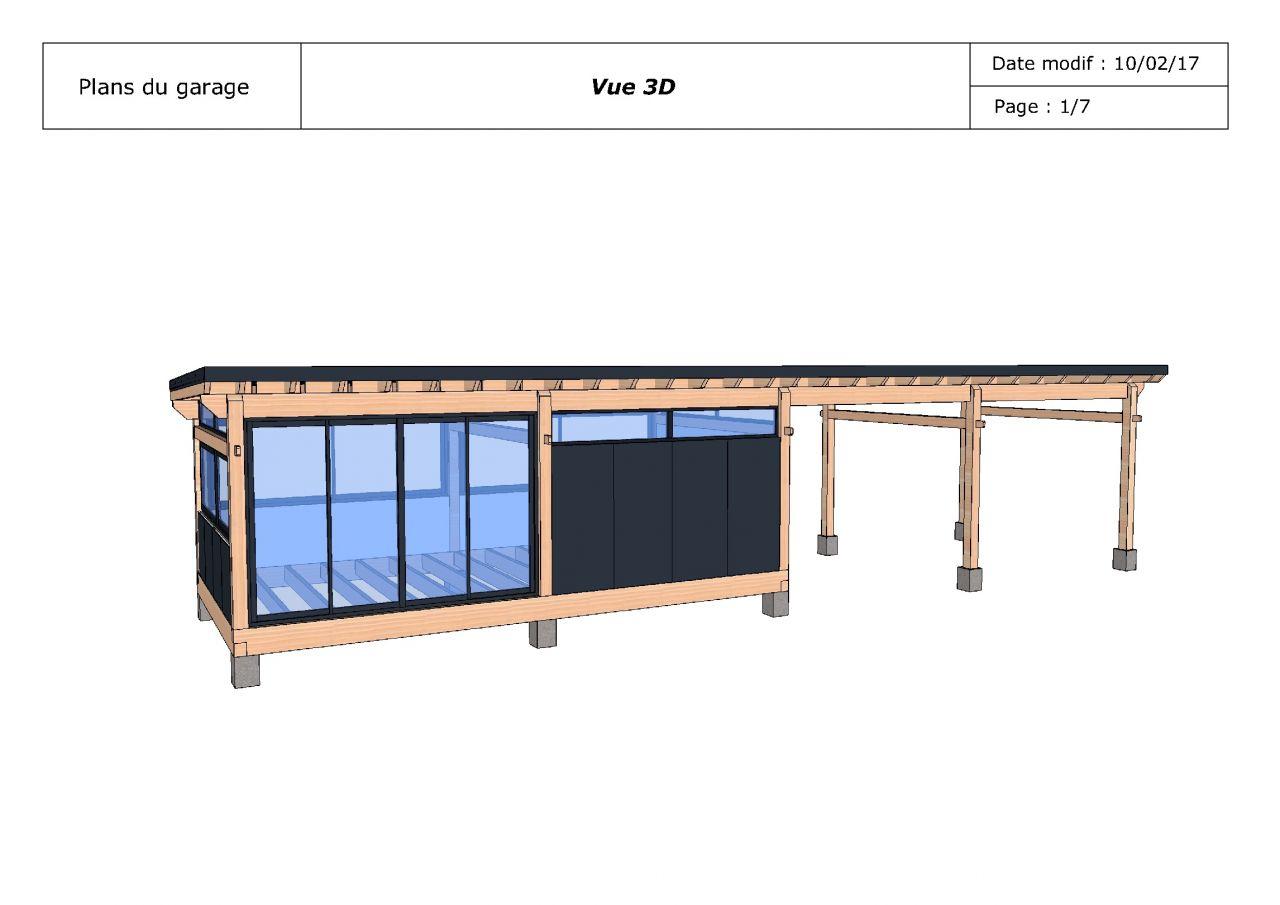 Vue 3D du garage, avec la partie fermée à gauche et le carport à droite