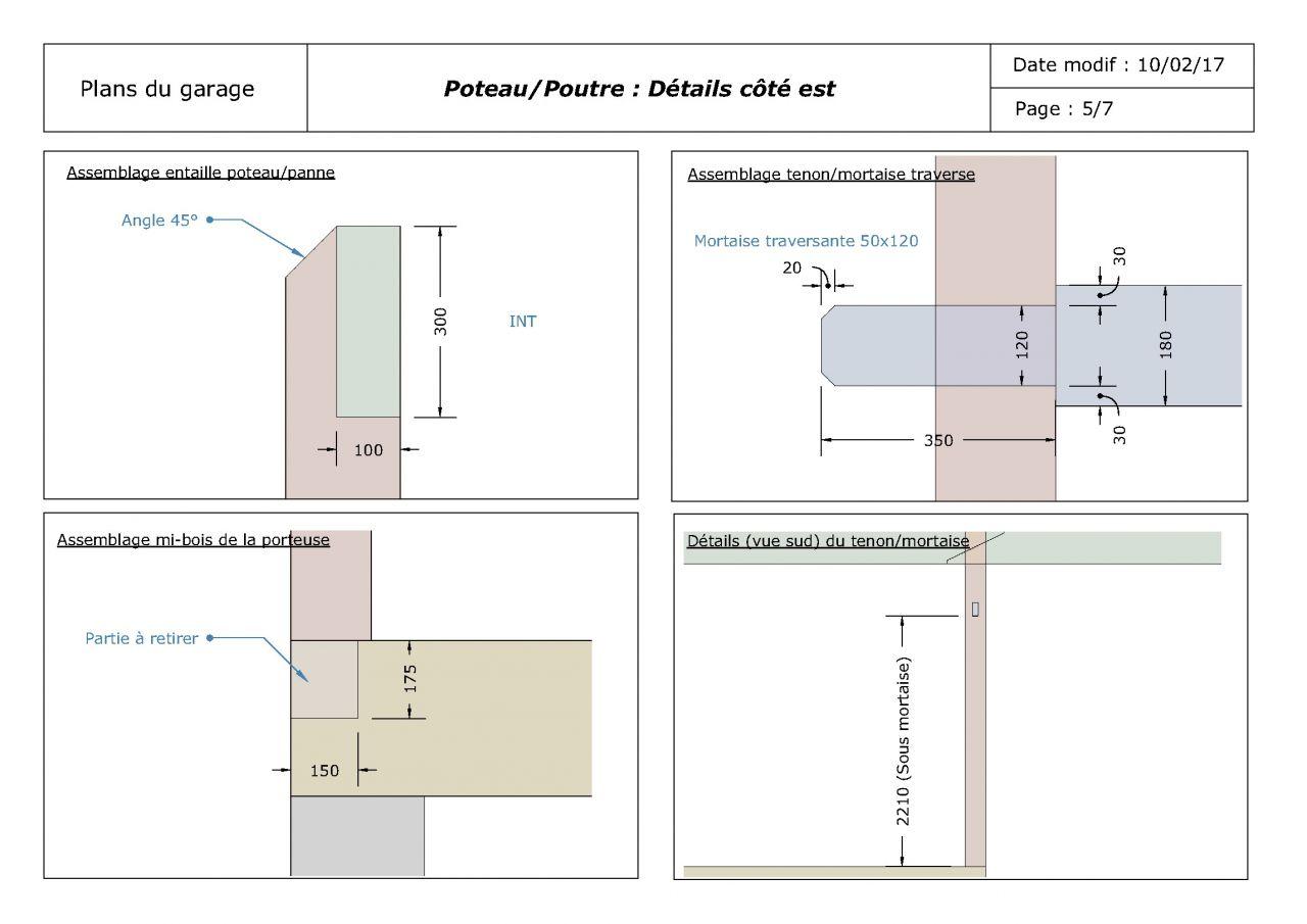 Plans de la structure poteau/poutre du garage (détails)