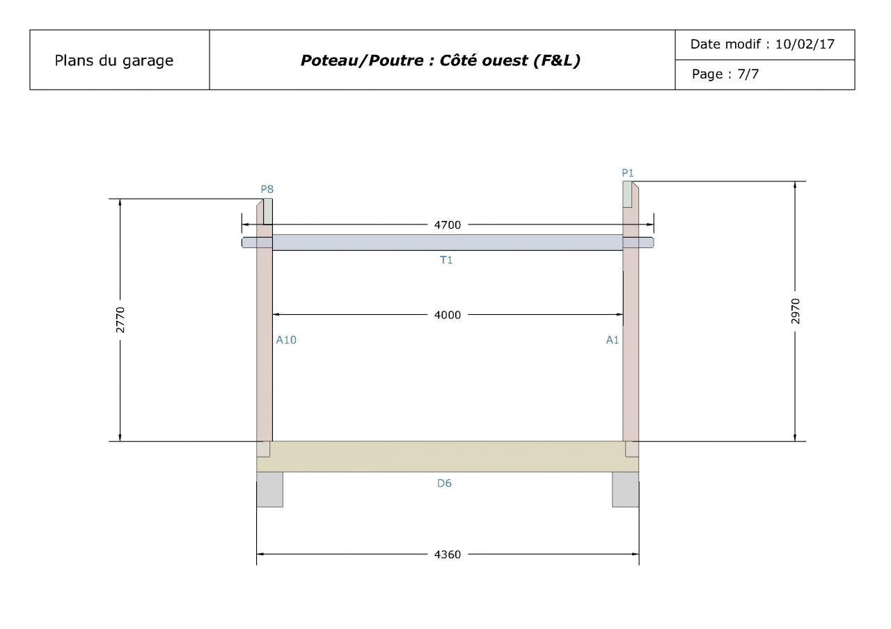 Plans de la structure poteau/poutre du garage (côté)