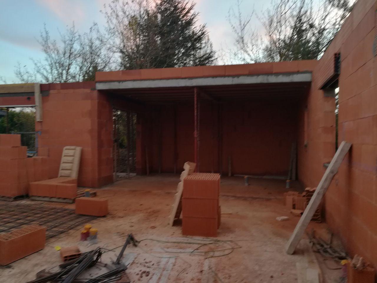 Fin des murs - poutre côté toit terrasse