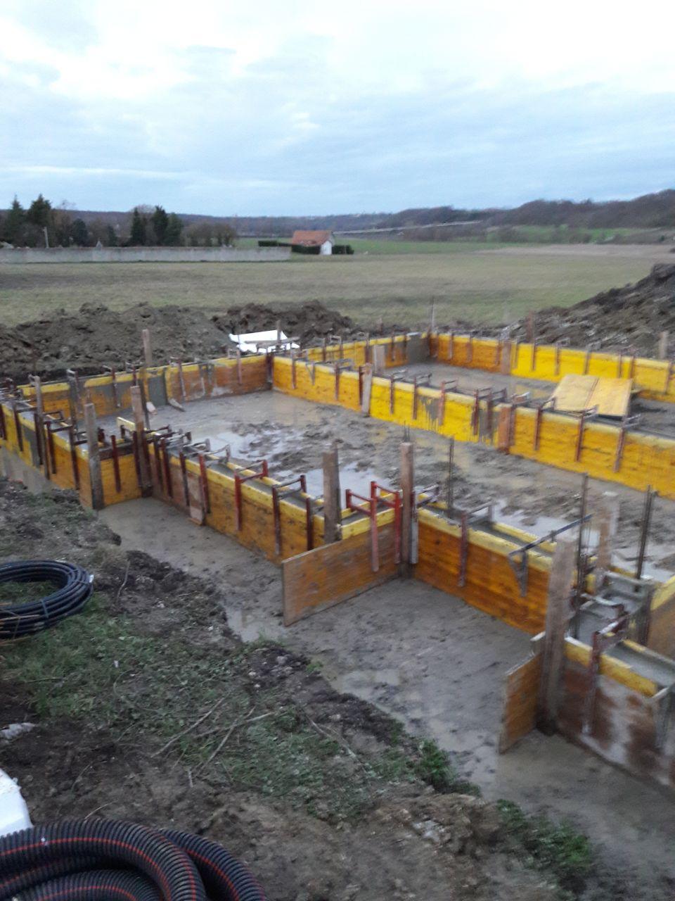 beton banche en cours de séchage
