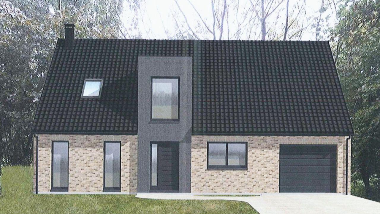 Visuel de la façade avec le vide sur hall en enduit et les briques Corum. <br /> Tuiles Jura Nova noires et menuiseries alu noires à l?extérieur.