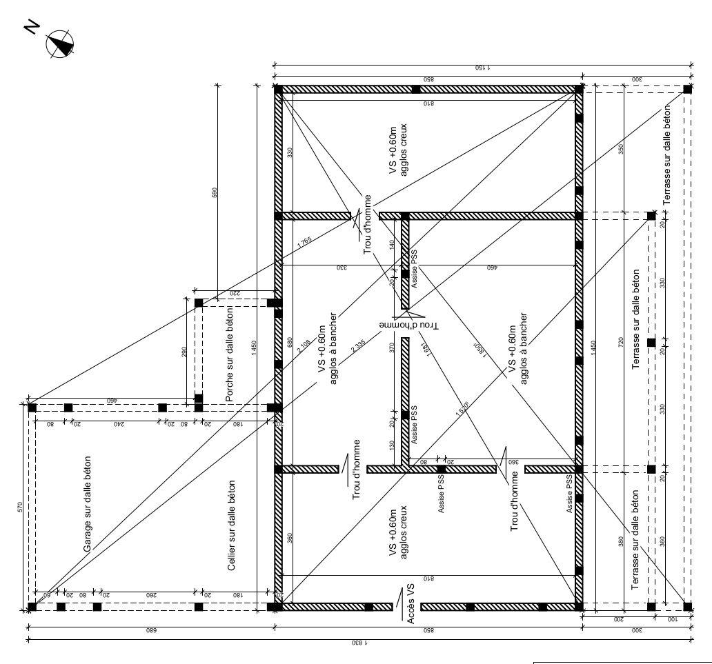 plan de fouilles pour vide sanitaire, fondations de 0,60m profondeur x 0,50m largeur.