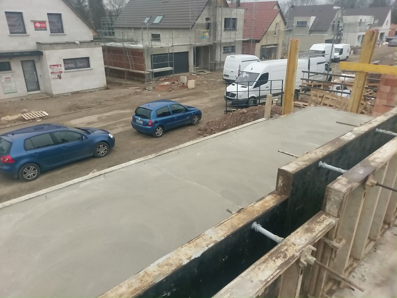 Coulage de la dalle du 1er - partie au dessus du garage