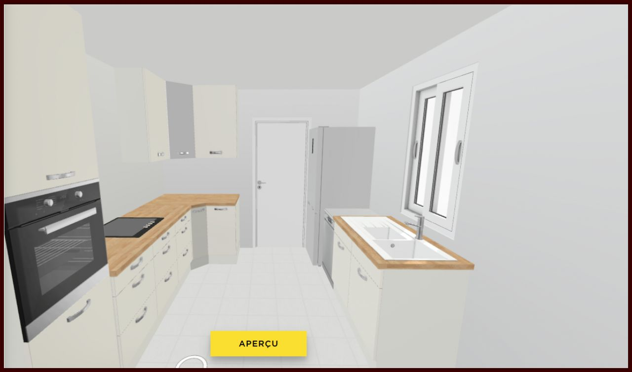 Simulation de la cuisine. La fenêtre ne sera pas une fenêtre coulissante.