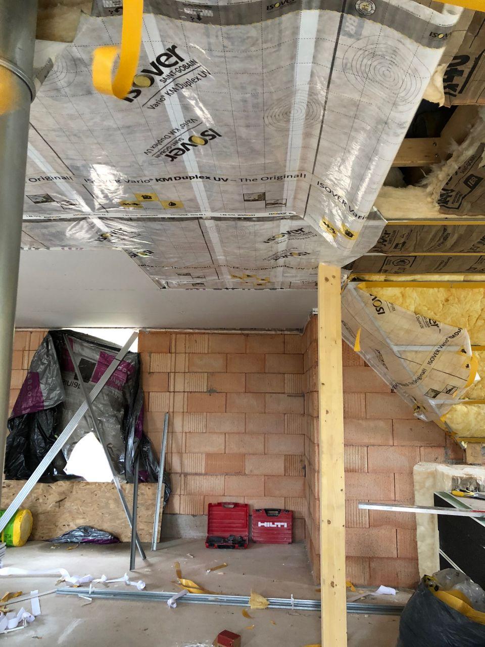 Isolation plafond étage , film vario et ba13