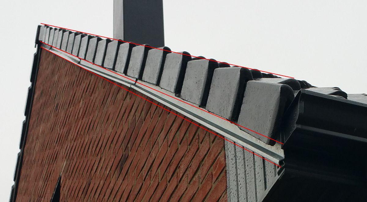 Défaut du toit angle sud-est