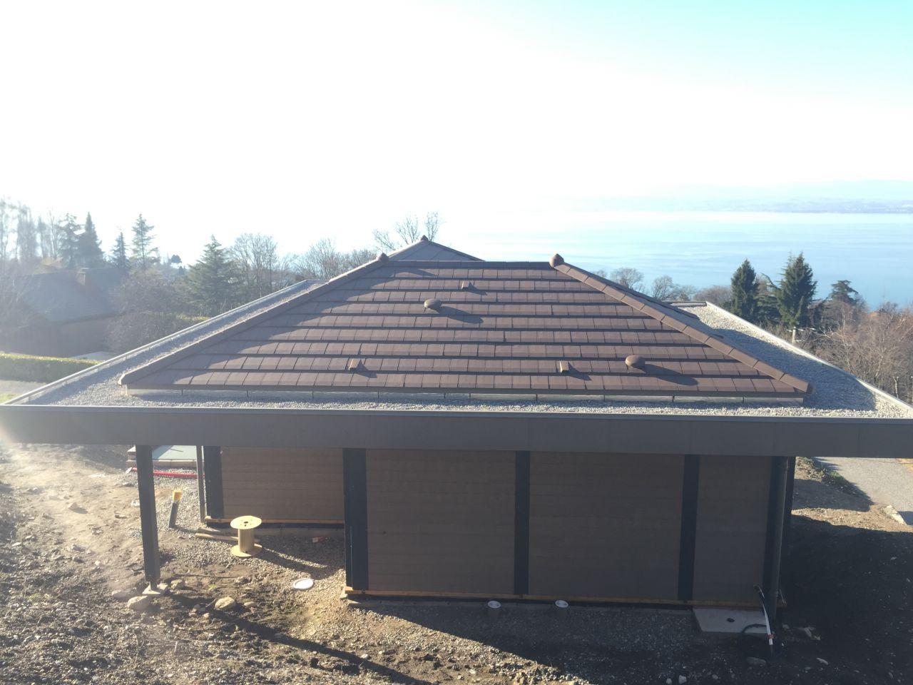 graviers sur la partie toit plat