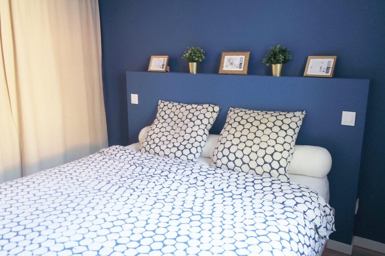 Tête de lit en placo - chambre parentale