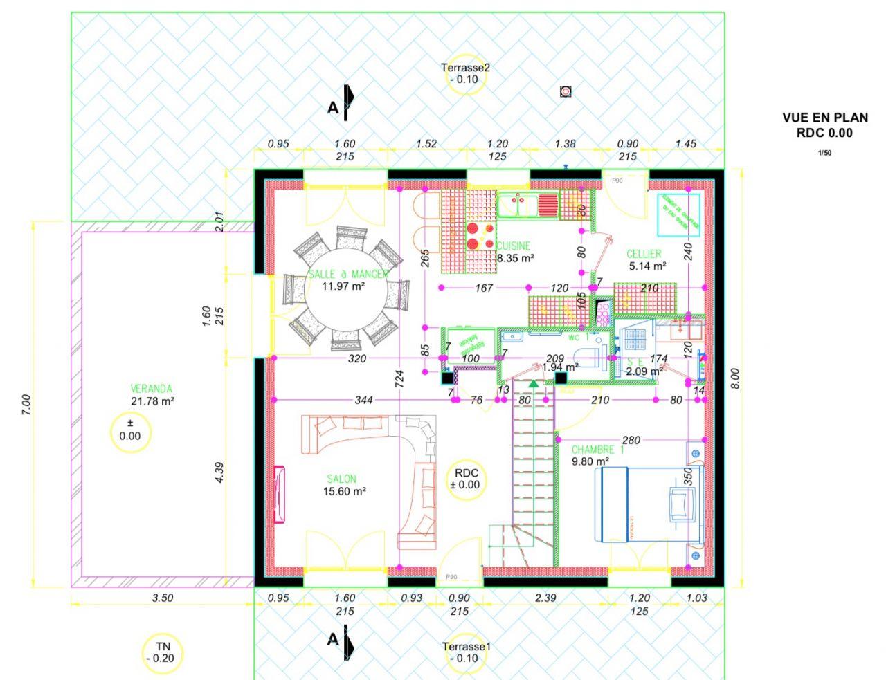 - Le WC recul + création d'un lave main. <br /> - Création d'une salle d'eau dans la chambre. <br /> - Coffret EDF déplacé au droit du WC. <br /> - Création d'une niche pour le frigo américain.