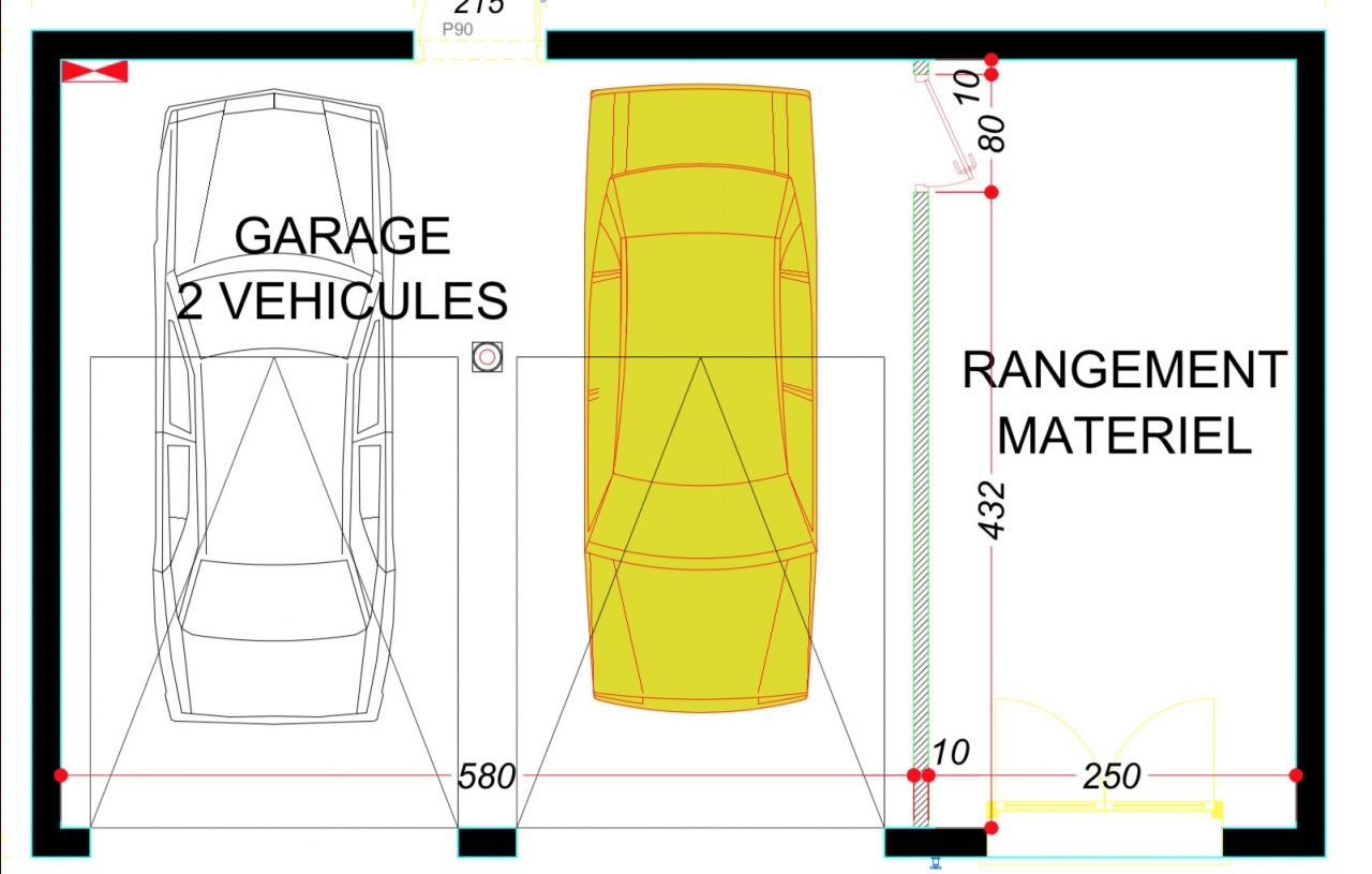 Garage pour deux voitures + rangement (cave) à construire.