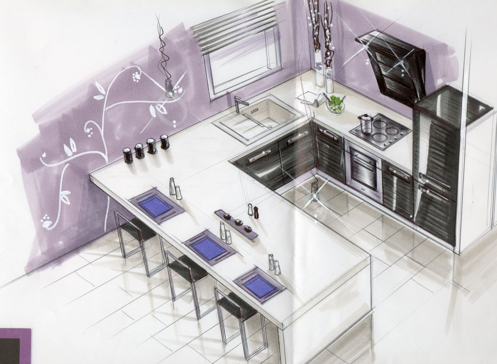 dessin 3d de la future cuisine hors d 39 eau aigues vives gard. Black Bedroom Furniture Sets. Home Design Ideas
