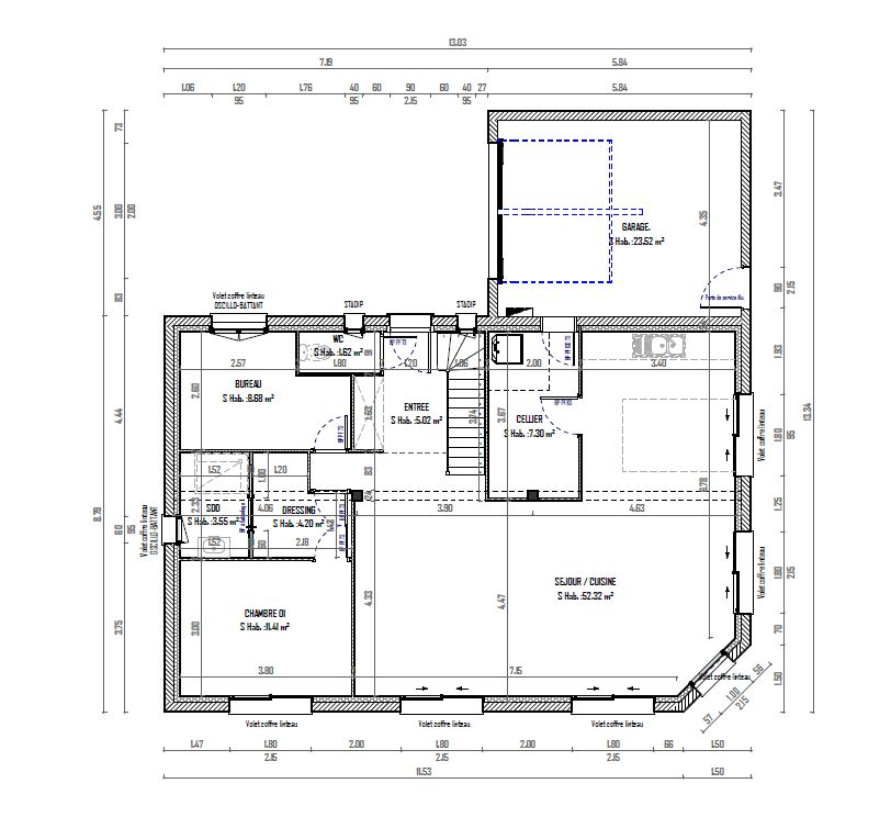 voici le plan du rez de chaussée
