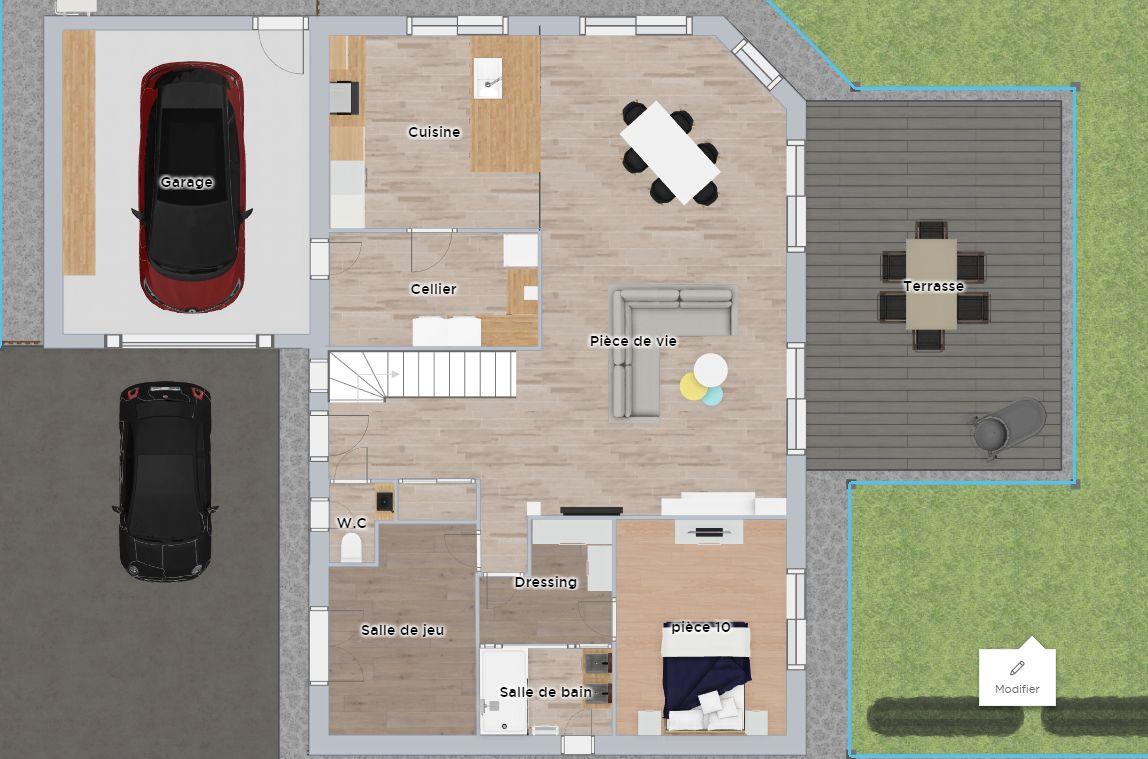 Plan sur home by me qui peut aider certains à mieux visualiser (l'implantation des portes et des wc sont modifiés sur celui ci comme nous allons leur demander.