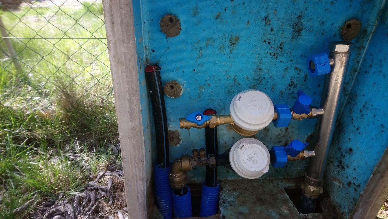 Pose Du compteur d'eau initiale par Veolia dans niche existante