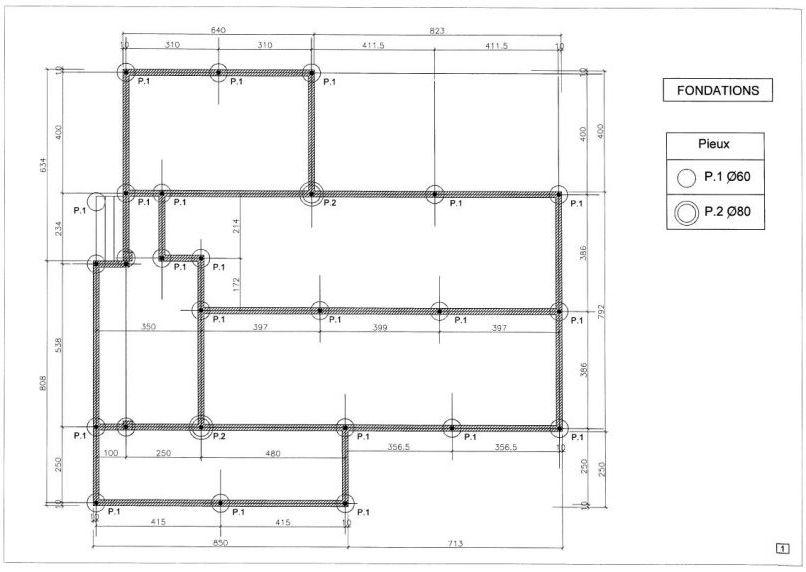 Plan1 de fondations fournis par la société ABEX à Alès