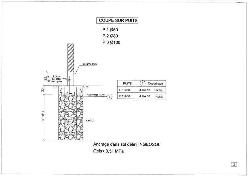 Plan2 de fondations fournis par la société ABEX à Alès