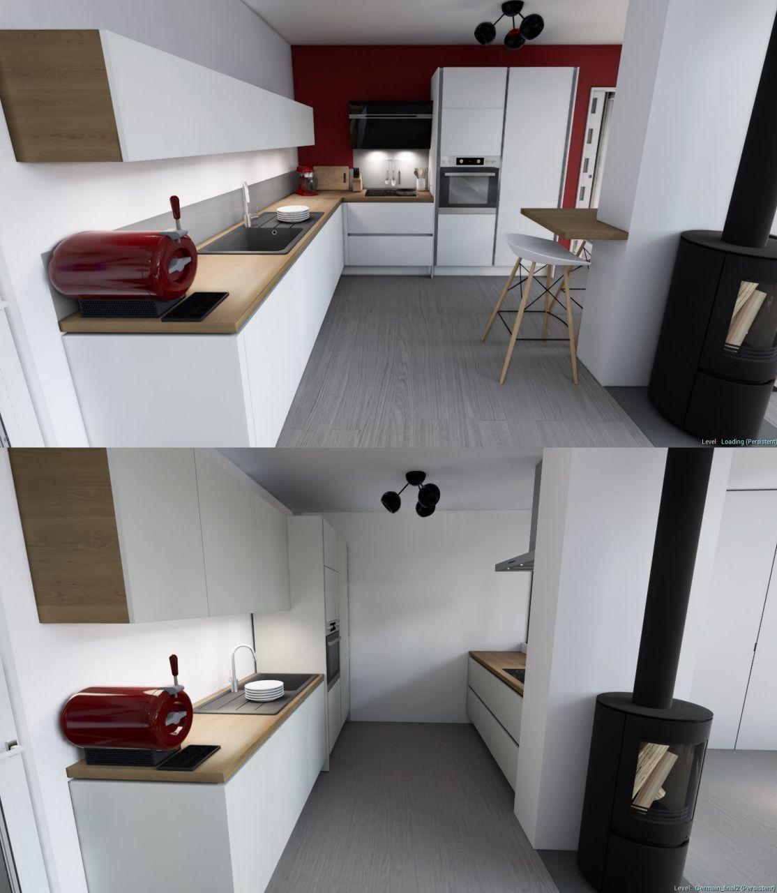 Modification de la cuisine après mise à jour des plans d?exécution. Poteau décalé vers la gauche et reculé : la tablette devenait gênante.