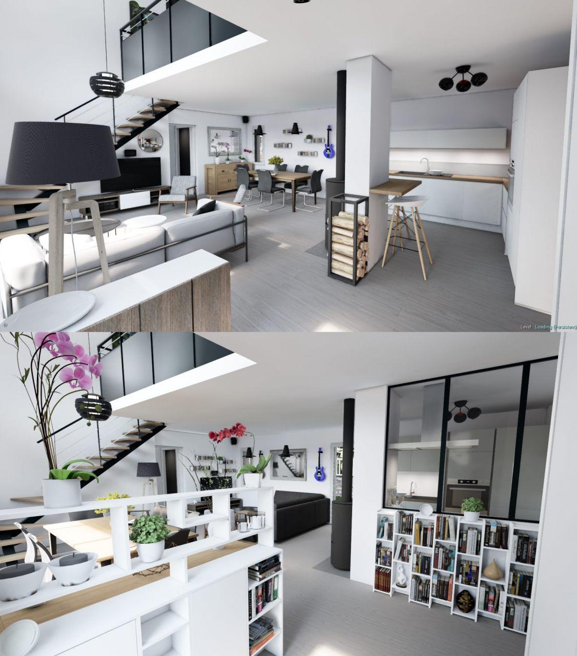 Modification de la cuisine et de la disposition de la pièce de vie après mise à jour des plans d exécution. Démarcation d'un entrée.