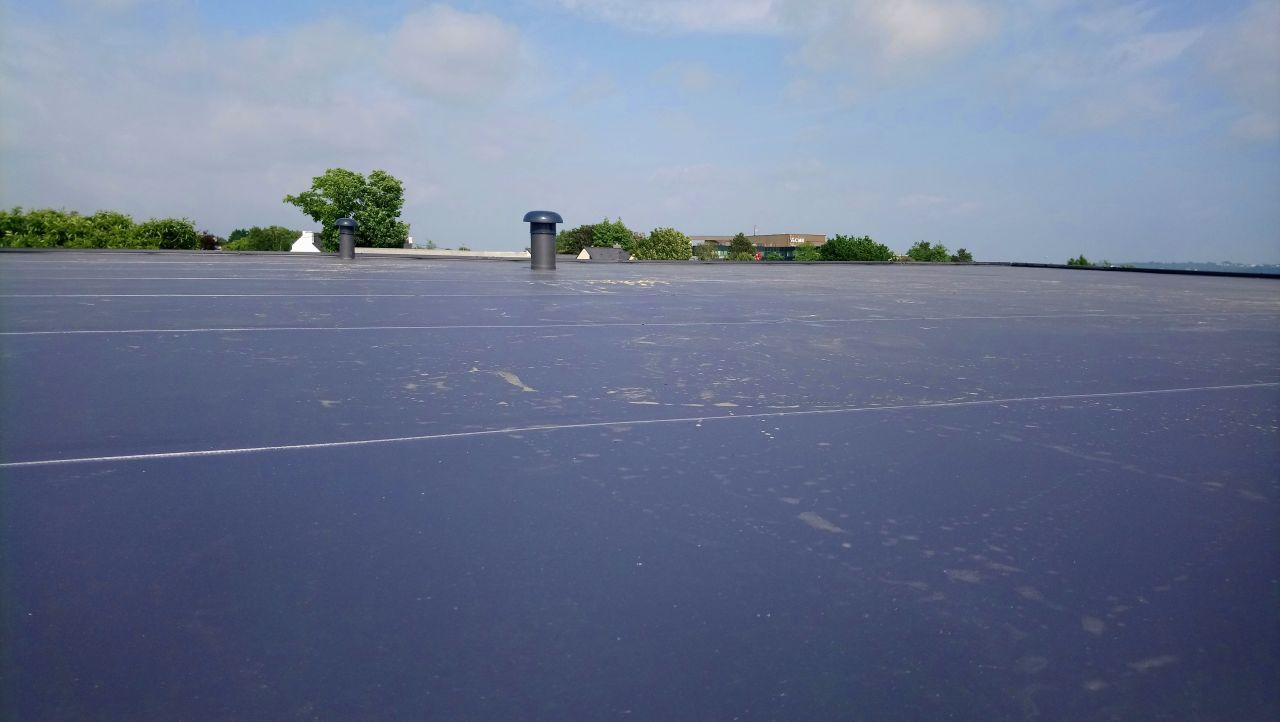vue du toit, du bout de mon échelle installée sur la terrasse