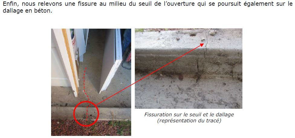 photo d'expertise - fissure seuil atelier