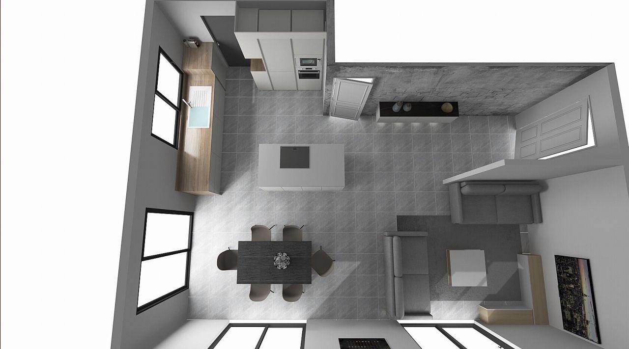 Pièce de vie vue du dessus avec l'implantation de la cuisine