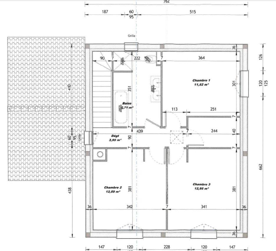 Plan V3 (Permis de Construire) <br /> L'implantation de la salle de bain sera inversée.