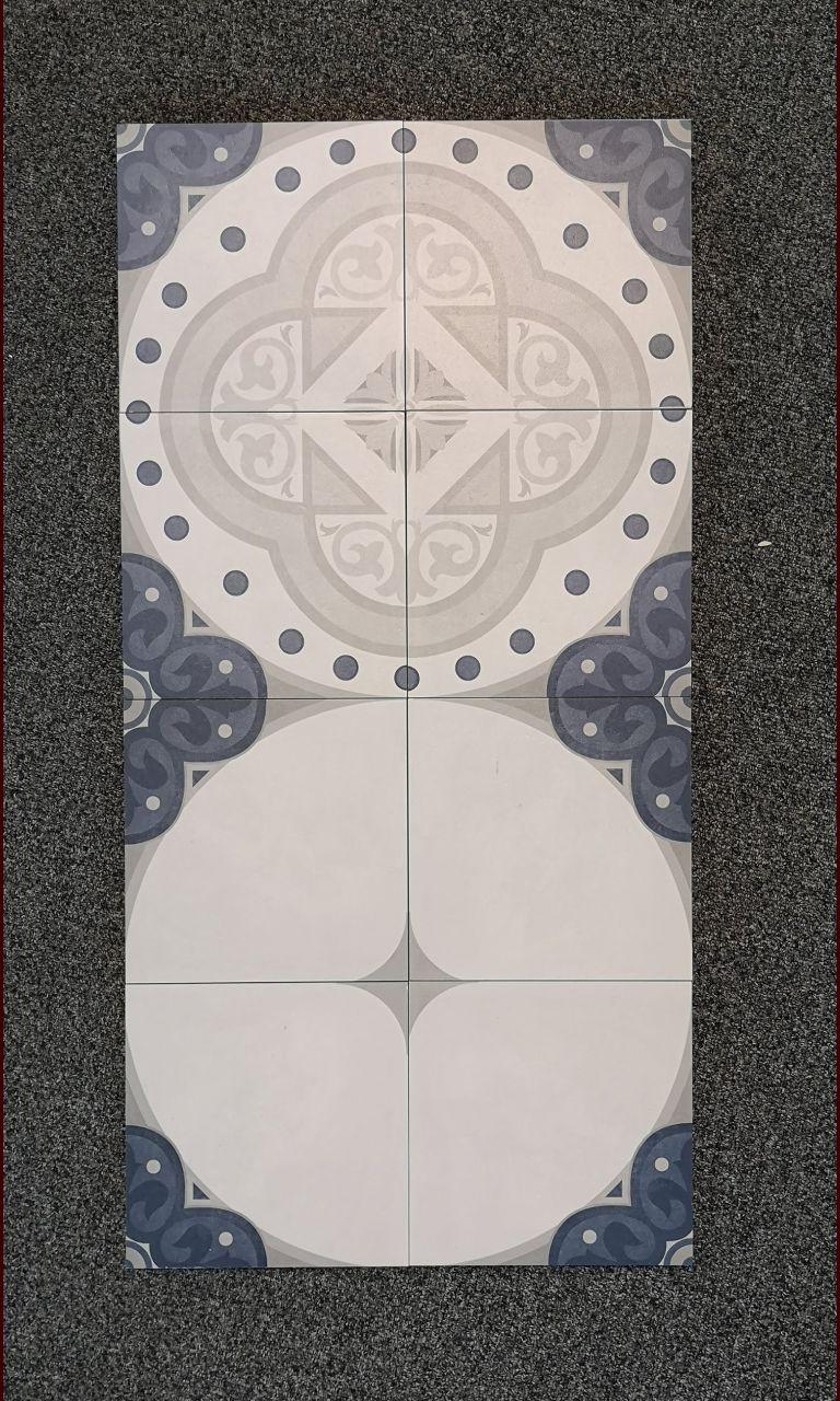 Le carrelage de la cuisine, qui sera en alternance motif plein/motif vide. <br /> Modèle Century Unlimited de chez Villeroy & Boch - carreaux de 20 x 20 cm