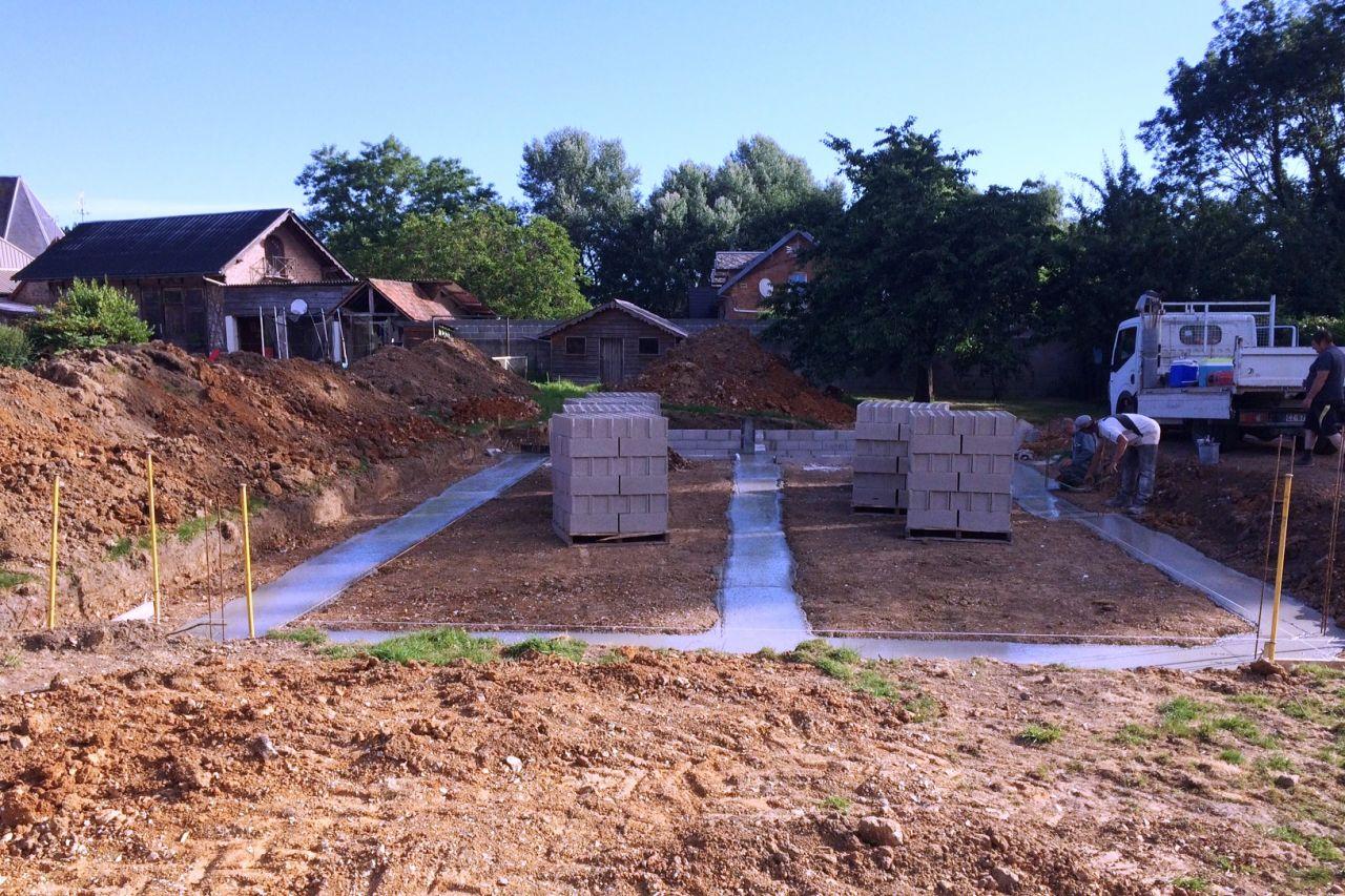 2 juillet, coulage fondation maison