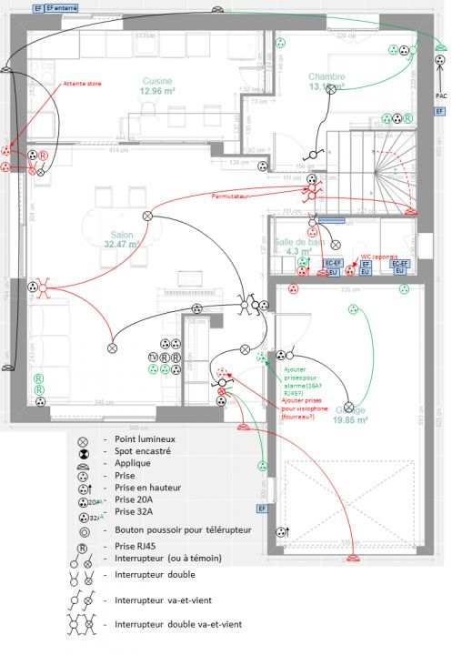 Vue étage avec l'ameublement prévu approximatif (préparation MAP)