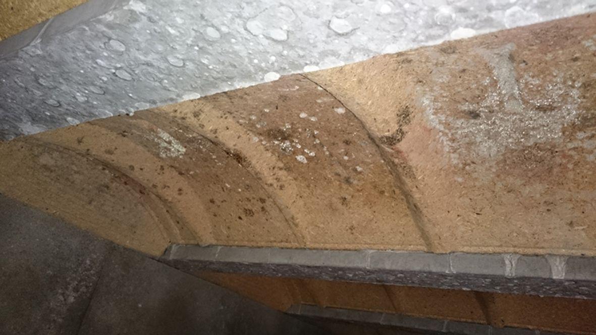 Moisissures commencent à apparaître sur les hourdis en bois compressé sous le garage
