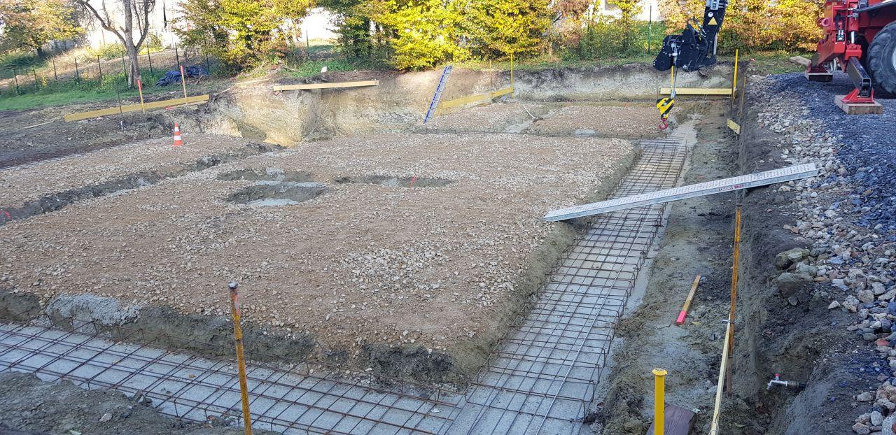 Béton de propreté coulé dans les fouilles