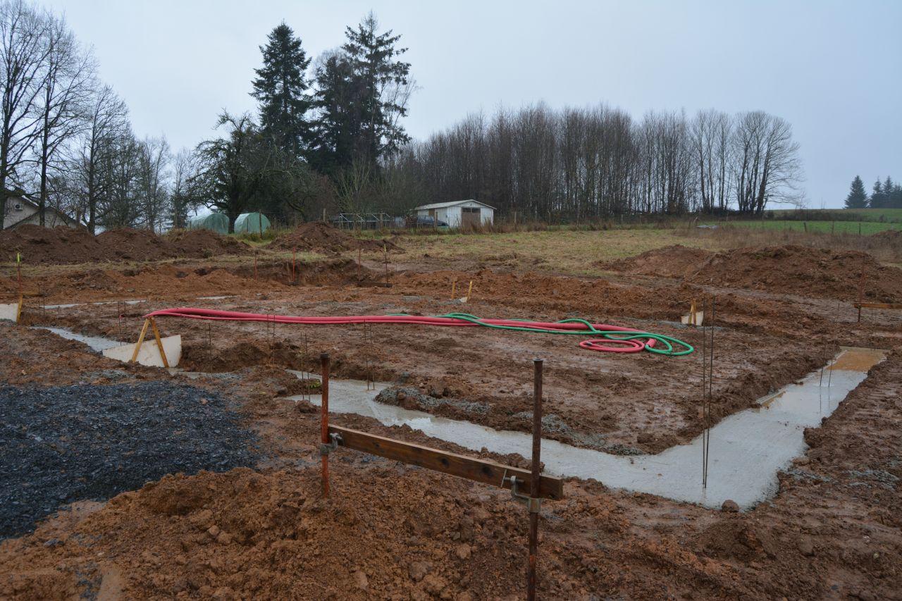 Photo des fondations. 2 jours après.