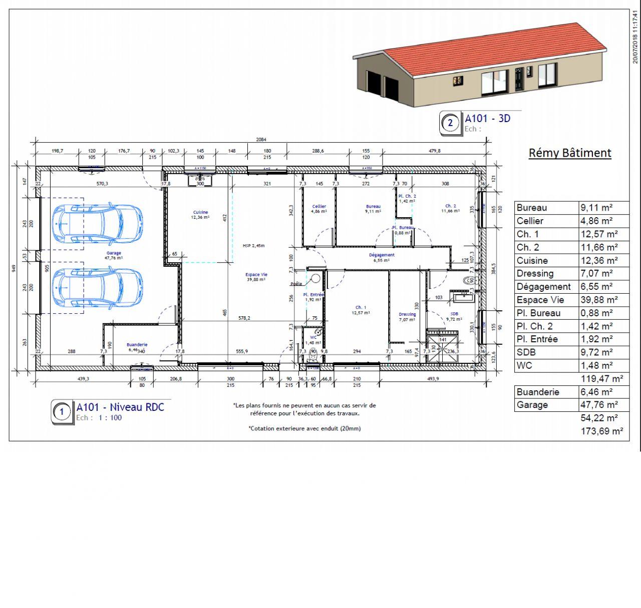 Voici le plan de notre maison de plein pied et ses surfaces