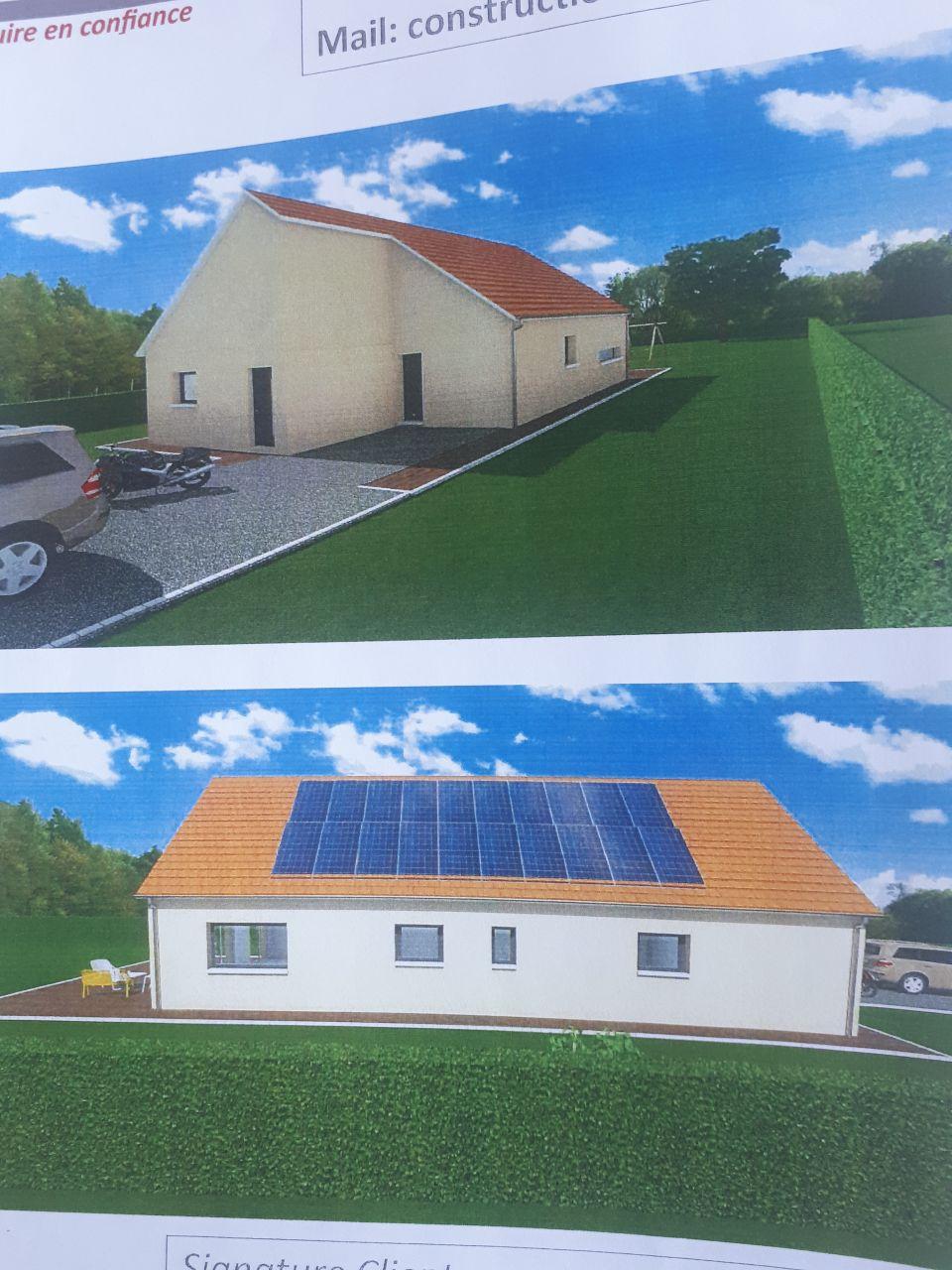 autre vue de la maison. Il y aura 22 panneaux photovoltaïque avec batterie de stockage pour l'autoconsommation et revente du surplus, objectif être pratiquement autonome.