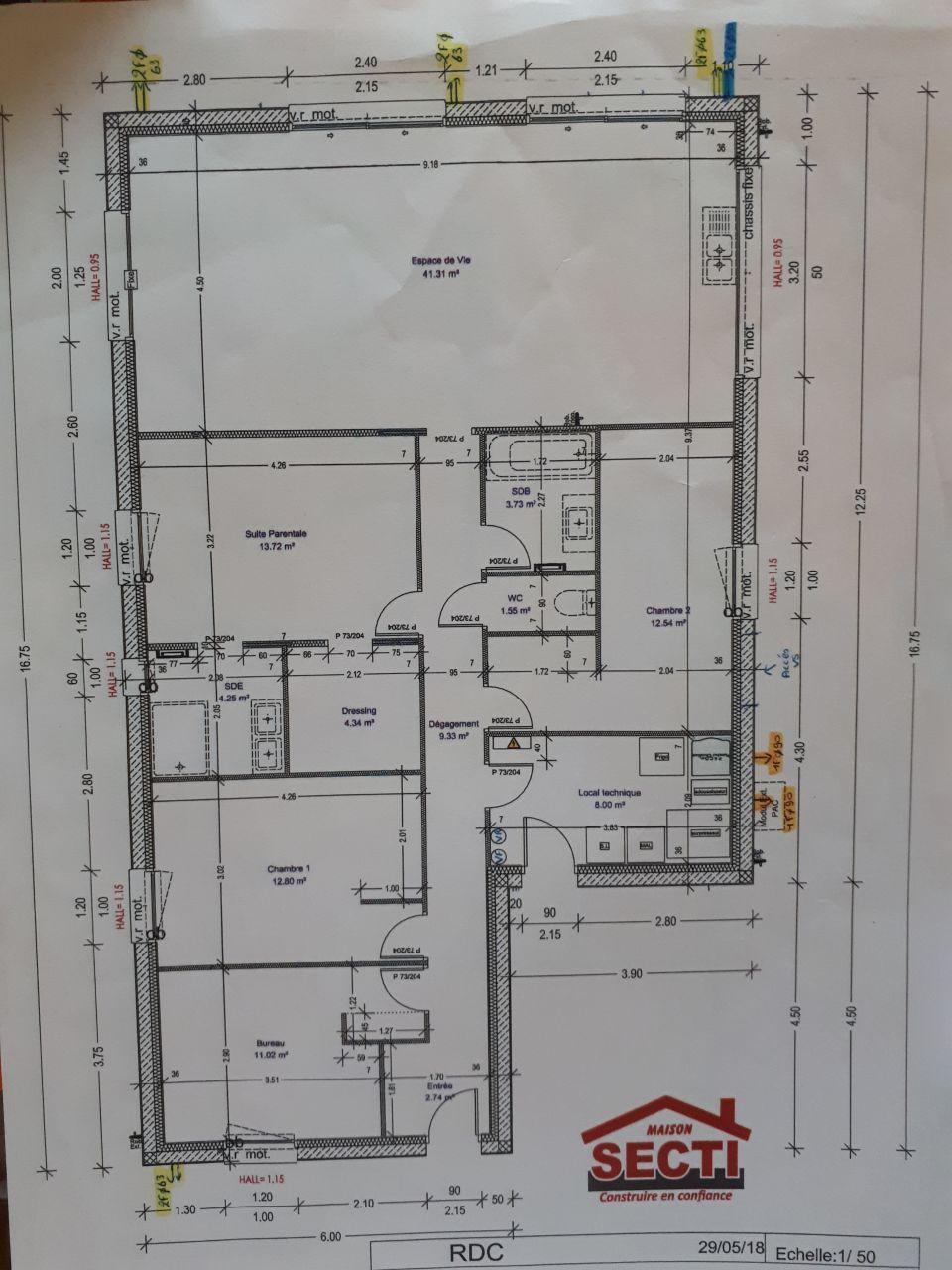 plan de la maison que j'avais dessiné, mis sur plan technique par MAISON SECTI, respect à 100% de ce que j'avais dessiné, cela a été un dès critères important de choix de ce constructeur ainsi que le prix.