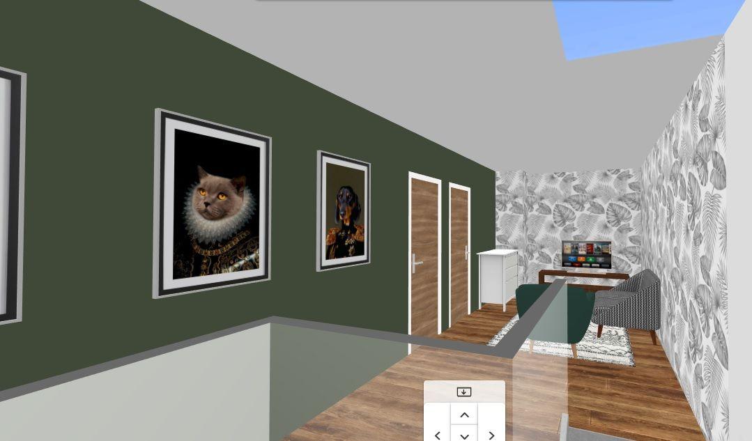 Mezzanine à l'étage et couloir menant aux chambres. Style anglais.