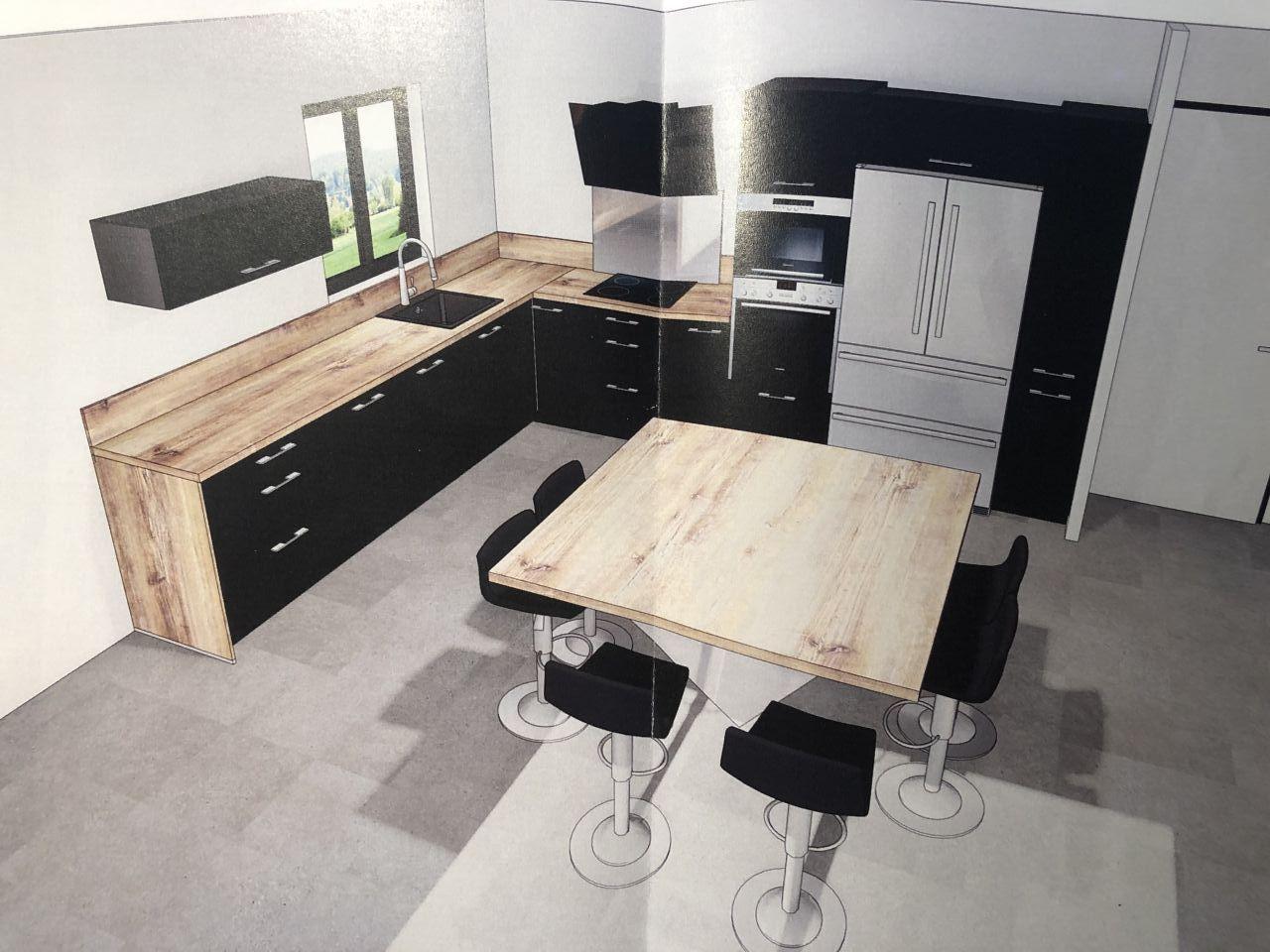 Voilà à quoi ressemblera notre cuisine <br /> Façade noire mat, touché velours modèle Vogue