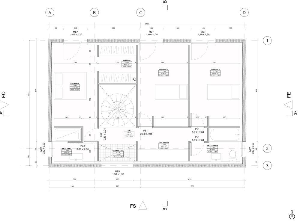 Voici le plan quasiment définitif de l'étage
